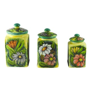 Mexican Majolica Canister Jars - Set of 3 For Sale