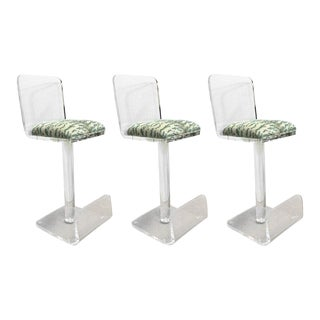 Set of Three Vintage Lucite Bar Stools, Newly Upholstered Seat For Sale