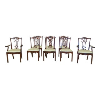 Set of 8 Maitland Smith Chippendale Mahogany Dining Room Chairs For Sale