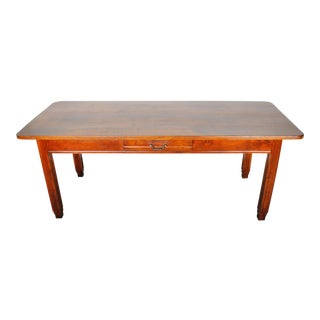 1900s French Farmhouse Style Mahogany Dining Table W/ One Drawer For Sale