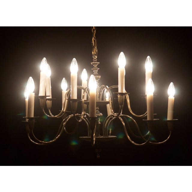 Vintage Large Brass Sixteen-Arms Chandelier For Sale - Image 9 of 11