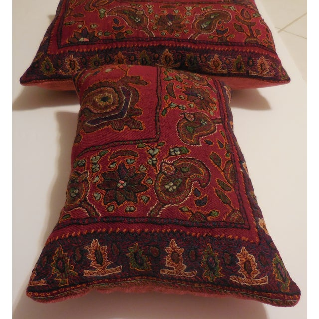 Hand Embroidery Antique Pillows - A Pair - Image 8 of 10