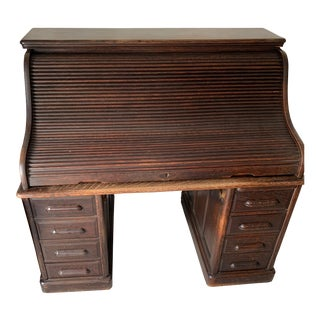 1900s Early American Roll Top Desk For Sale