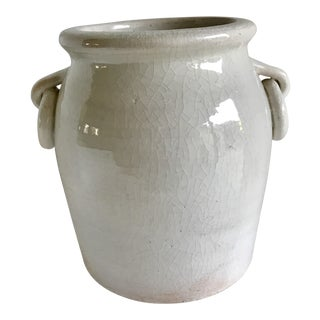 1990s American Classical Crackle Pottery Urn Vessel