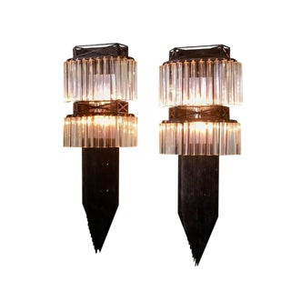 Custom-Made Brutalist Iron and Venini Crystals Matching Wall Sconces - A Pair For Sale