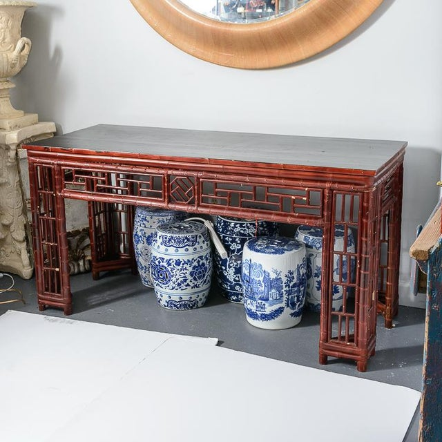 Antique Chinese Chippendale Bamboo Altar Table/Console. Chinese Red in color with a Black Lacquer top. Great antique...