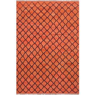 Kilim Boris Orange Hand-Woven Wool Rug - 5′3″ × 6′8″ For Sale