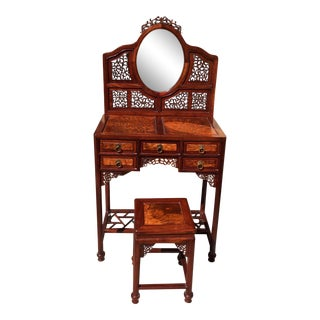Antique Chinese Burl Wood & Blackwood Dressing Table-Vanity & Stool