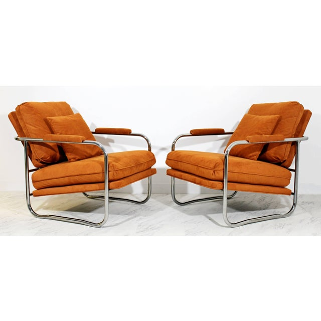 Mid-Century Modern Mid-Century Modern Pair of Tubular Chrome Lounge Chairs and Ottoman For Sale - Image 3 of 11