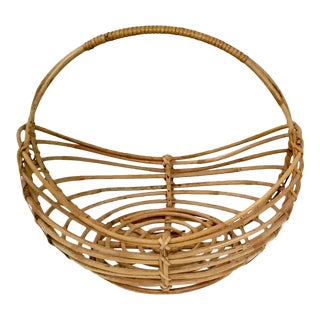 1980s Organic Modernn Franco Albini Style Rattan Basket With Handle For Sale