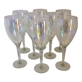 Hand Blown Hollywood Regency Opalescent Wine Glasses - Set of 8