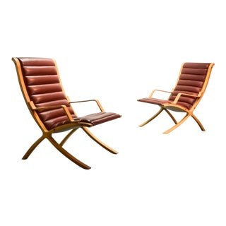 Mid-Century Danish Pair of Padded Red Leather High Back Ax Lounge Chairs by Hvidt and Molgaard Nielsen for Fritz Hansen, 1970s For Sale