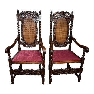 19th Century Antique Jacobean Cherub Carved Twisted Oak & Cane Armchairs - a Pair For Sale