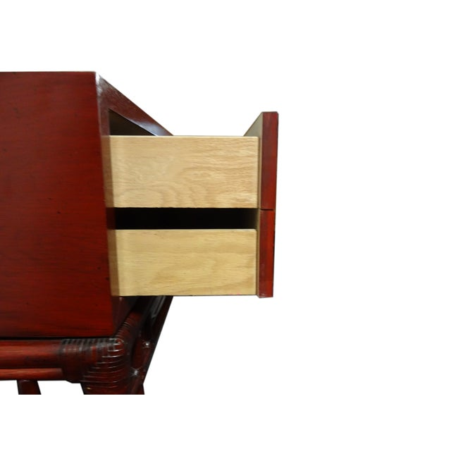 Ficks Reed Red Asian Sideboard Console - Image 4 of 11