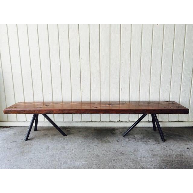Reclaimed Wood & Industrial Steel Bench - Image 2 of 5