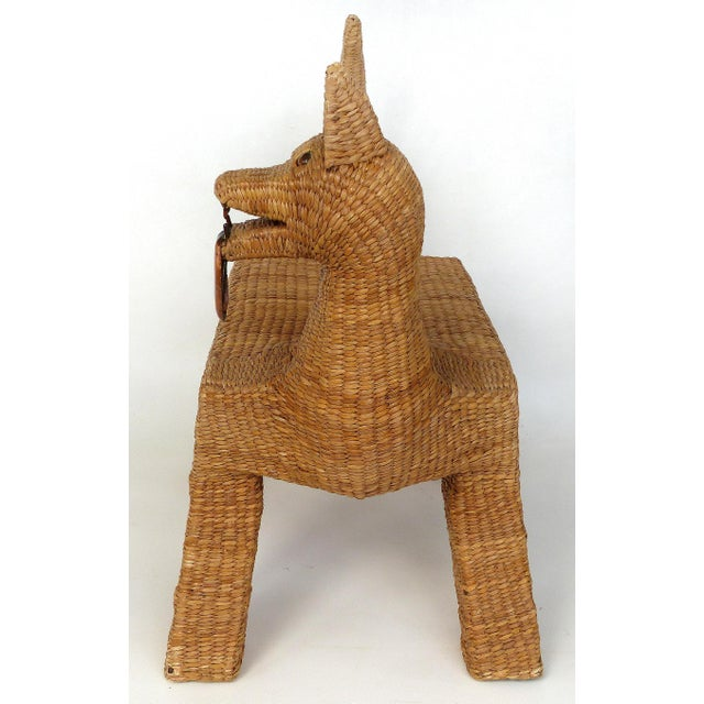Mario Lopez Torres 1970s Mexican Mario Lopez Torres Woven Reed & Copper Coyote Bench For Sale - Image 4 of 12