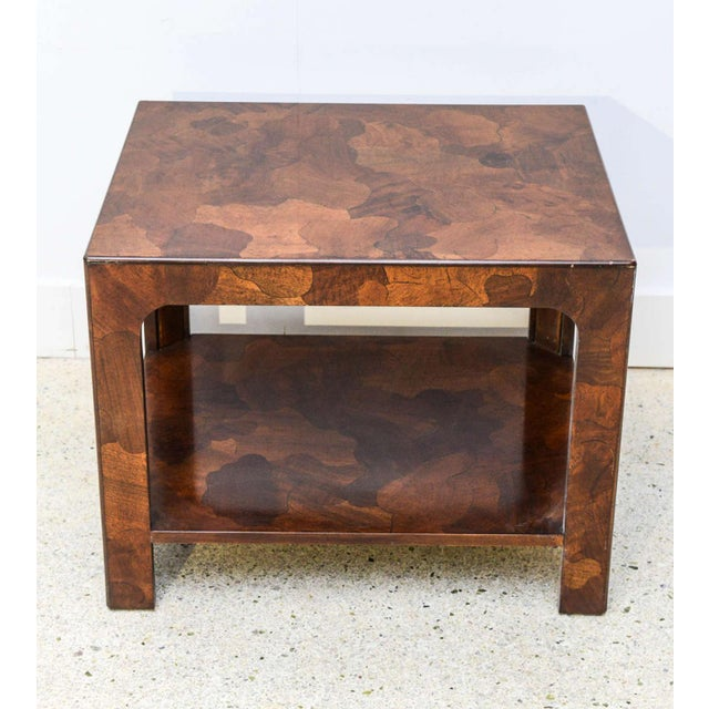 Brown American Modern Inlaid Mixed Wood Table, American of Martinsville For Sale - Image 8 of 9