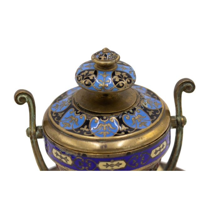 French Victorian enamel urn shaped inkwell with round base.
