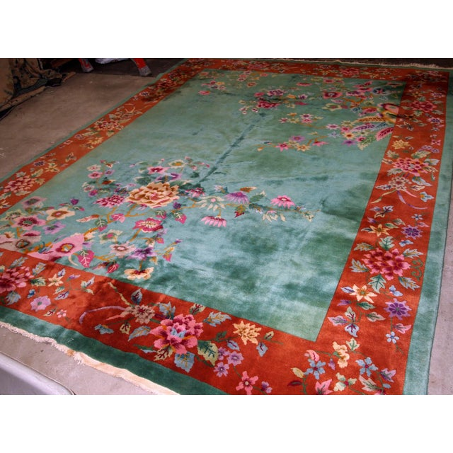 1920s, Handmade Antique Art Deco Chinese Rug 8.10' X 11.6' For Sale - Image 9 of 11