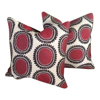 Lee Jofa Red, Black & White Pillow Covers - a Pair For Sale