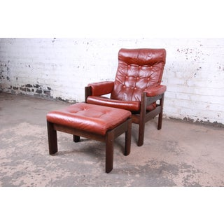 Ekornes Stressless Scandinavian Modern Leather and Oak Lounge Chair and Ottoman Preview