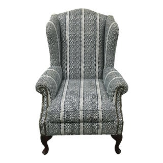 Blue & White Coastal Wing Chair For Sale