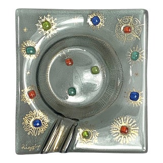 1970s Mid Century Modern Higgins Barbaric Fused Art Glass Ashtray Jeweled Signed For Sale