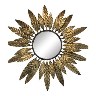 1950's Vintage Mid-Century Small Gold Sunburst Wall Mirror For Sale