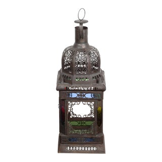 Moroccan Metal and Glass Candle Lantern, Set of Four For Sale