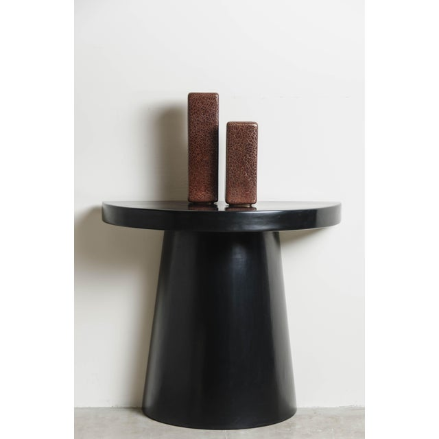 2010s Half Moon Hand Repousse Limited Edition Table in Black Lacquer by Robert Kuo For Sale - Image 5 of 6