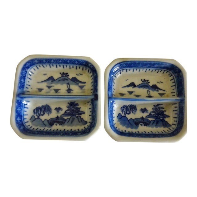 Chinese Blue Willow Sauce Dishes - a Pair For Sale