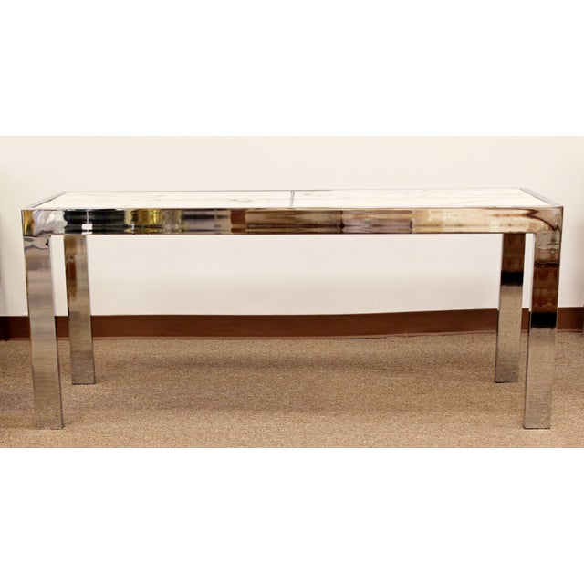 Chrome Mid-Century Modern Milo Baughman Chrome and White Marble Console Table, 1970s For Sale - Image 7 of 7