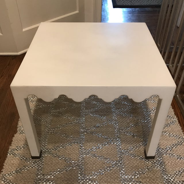 Contemporary White Lacquered Seagrass Coffee Side Table For Sale - Image 3 of 8
