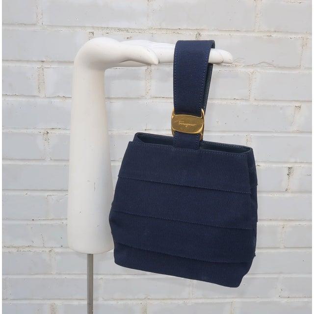 Ferragamo Blue Grosgrain Tiered Wristlet Handbag For Sale - Image 11 of 13