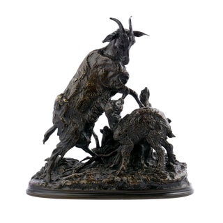 French Antique Bronze Sculpture of Goat & Kid by Pierre-Jules Mêne, 19th Century For Sale