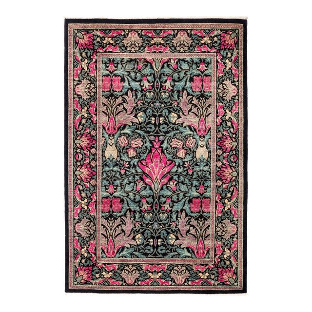 """Eclectic Hand Knotted Area Rug - 4' 2"""" X 6' 3"""" - Image 1 of 4"""