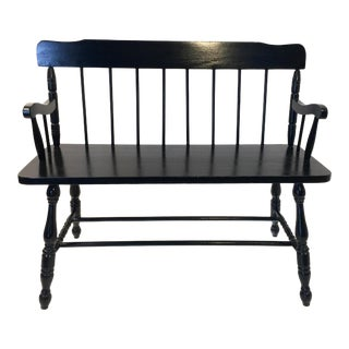 Early 20th Century Vintage Spindle Wood Deacons Bench For Sale