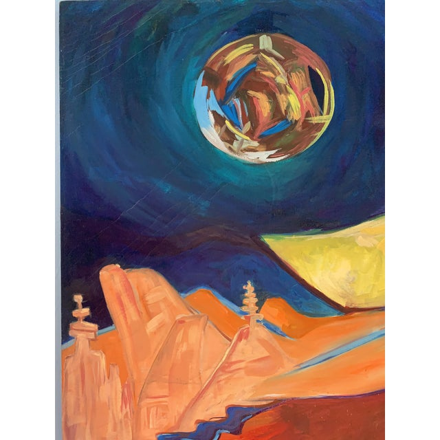 Blue Large Surrealist Canvas Painting For Sale - Image 8 of 13