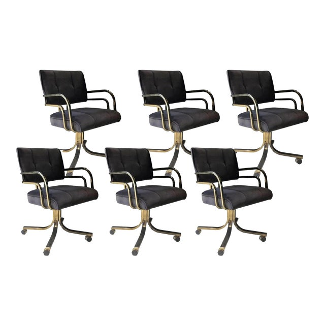 Set of Six Vintage Brass Office or Dining Chairs on Casters For Sale