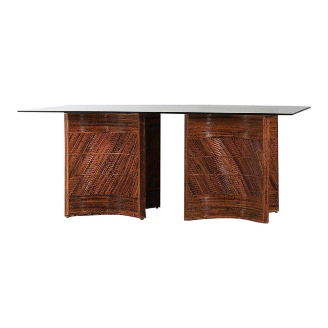 Sculptural Split Reed Double Pedestal Dining Table After Gabriella Crespi For Sale