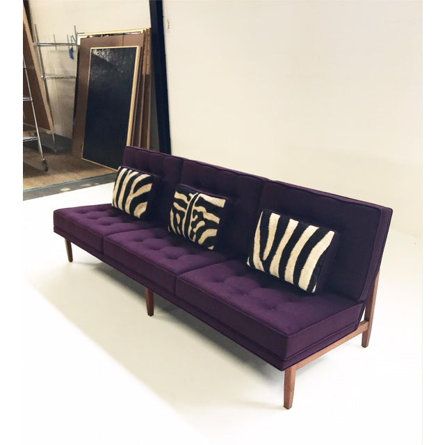 Forsyth Vintage Florence Knoll Sofa Restored in Loro Piana Cashmere With Custom Zebra Hide Pillows For Sale In Saint Louis - Image 6 of 13