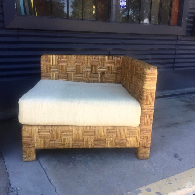 Vintage Woven Caning Sectional Sofa - Image 8 of 11