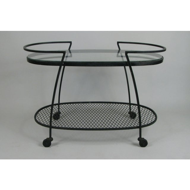 Mid-Century Modern Oval Wrought Iron 'Pinecrest' 1950s Bar Cart by Woodard For Sale - Image 3 of 8