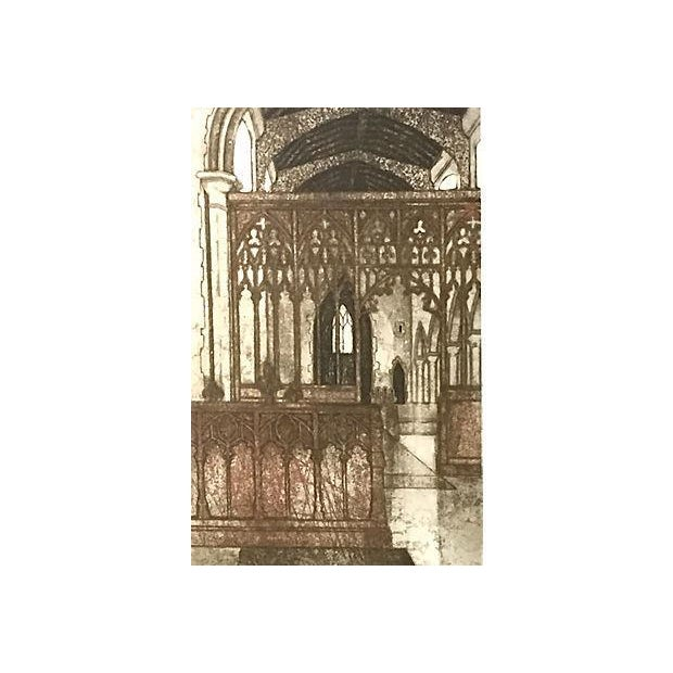 Original etching, Gothic Interior at Barking Suffolk England, by Valerie Thornton (British 1931-1991). Signed lower right....