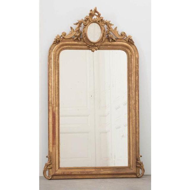 French 19th Century Ornately Carved Giltwood Over-Mantle Mirror For Sale - Image 4 of 13