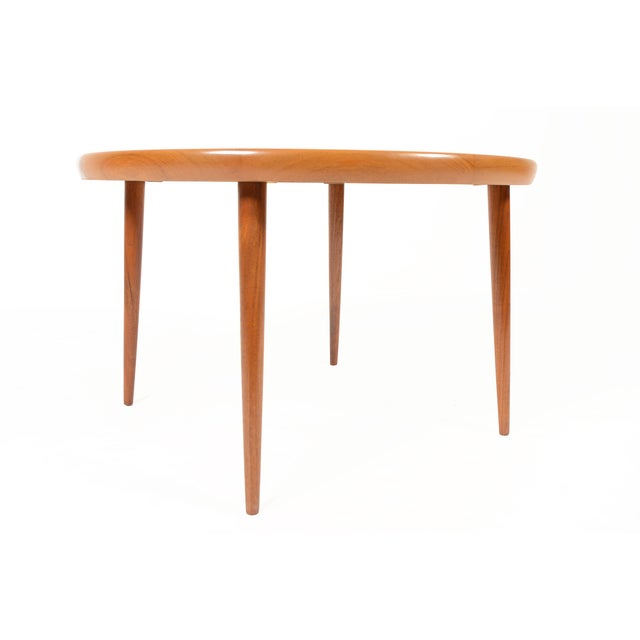 Danish Modern Round Starburst Teak Coffee Table - Image 4 of 9
