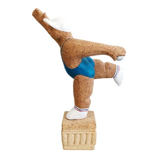 Vintage Ceramic Pottery Bocce Ball Player Signed Figural Sculpture For Sale