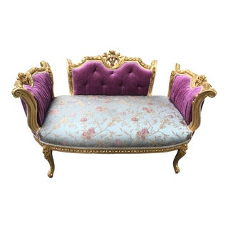 French Louis XVI Style Purple Tufted Love Seat/Settee