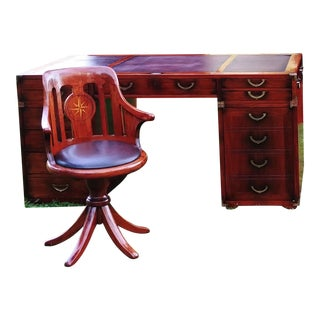 Starbay Rosewood Richelieu Leather Top Desk & Normandie Leather Desk Chair