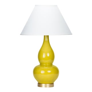 Casa Cosima Double Gourd Table Lamp, Citron Craquelure/Ivory Shade For Sale